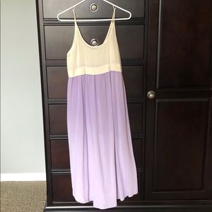 Wilfred lavender and cream 100% silk dress.
